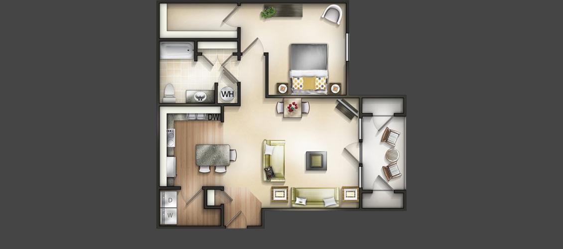 1 Bedroom | 1 Bath | 896 Sq Ft | Premier